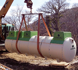 Tricel Novo wastewater treatment plant commercial size being installed
